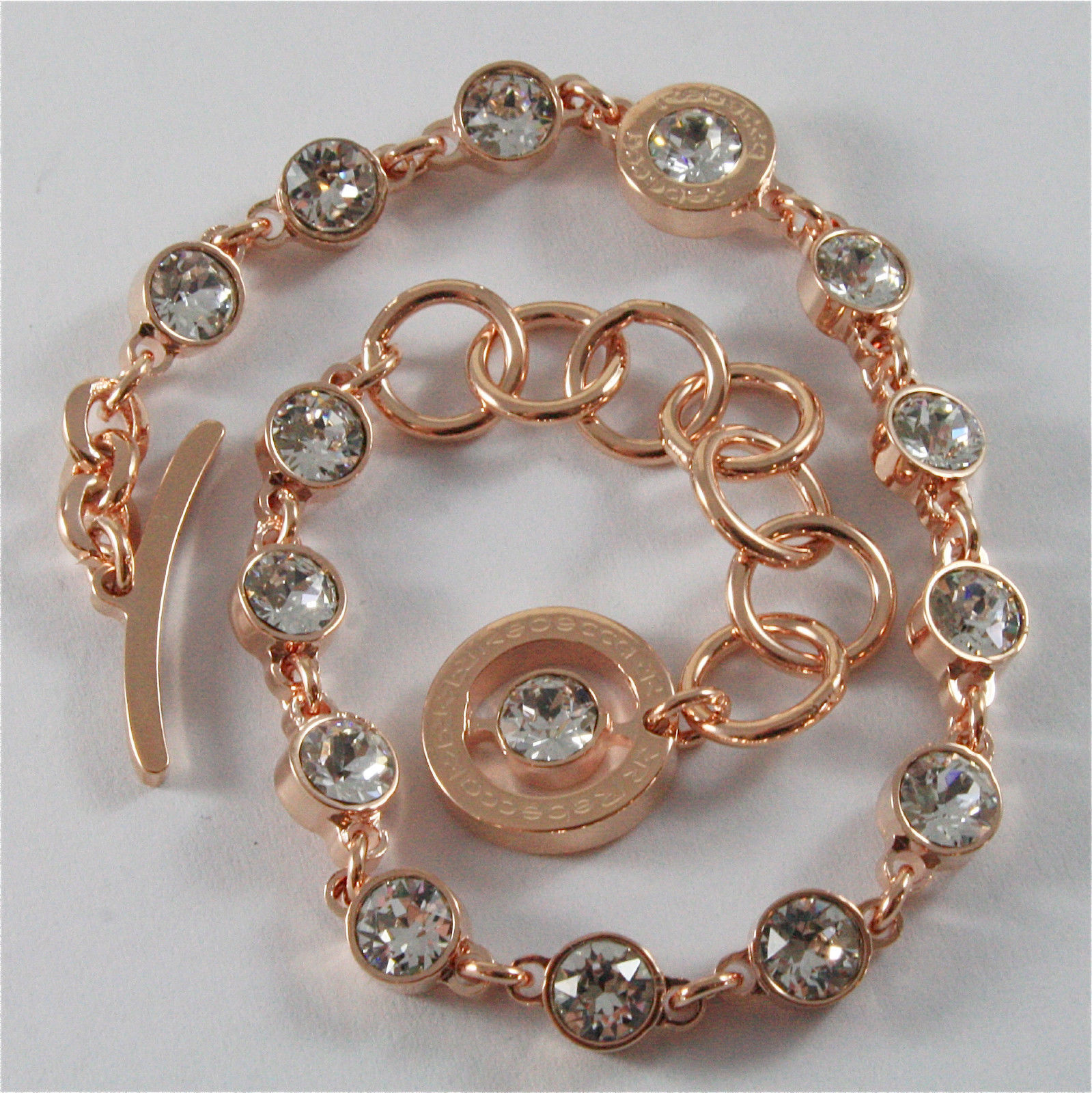 ROSE GOLD PLATED BRONZE REBECCA BRACELET PALM BEACH BPBBRB31 MADE IN ITALY 7.48