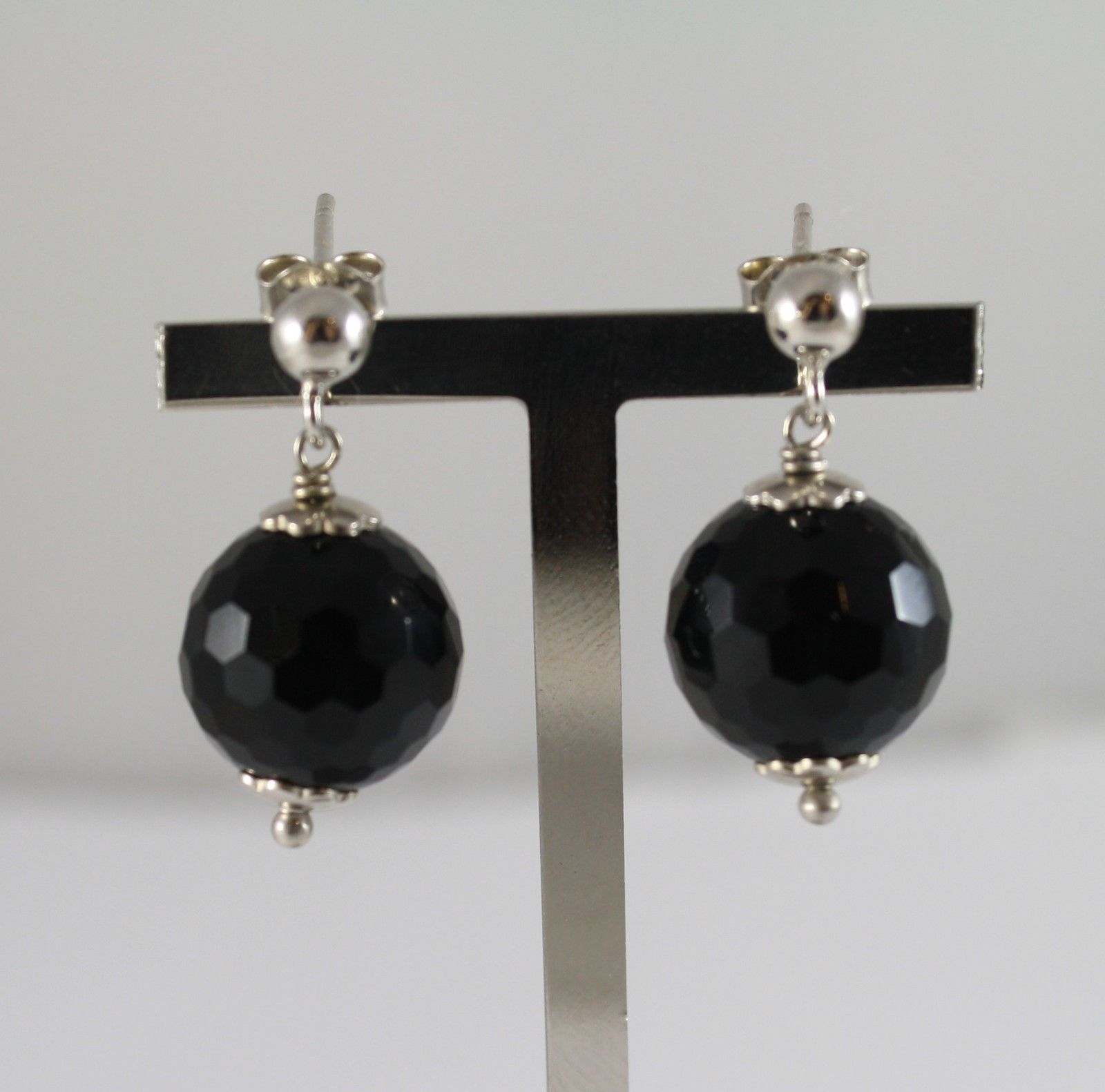 925 Silver Earrings Hanging Ball Faceted Black Onyx