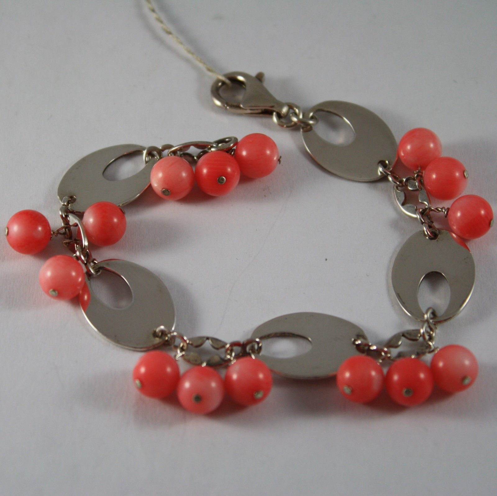 .925 RHODIUM SILVER BRACELET WITH CORAL BAMBOO AND OVAL