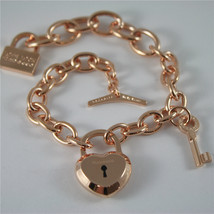 ROSE GOLD PLATED BRONZE REBECCA BRACELET LOVE LOCK BLLBRB04 MADE IN ITALY 7.87