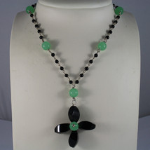 .925 RHODIUM SILVER NECKLACE WITH BLACK ONYX AND GREEN JADE image 1