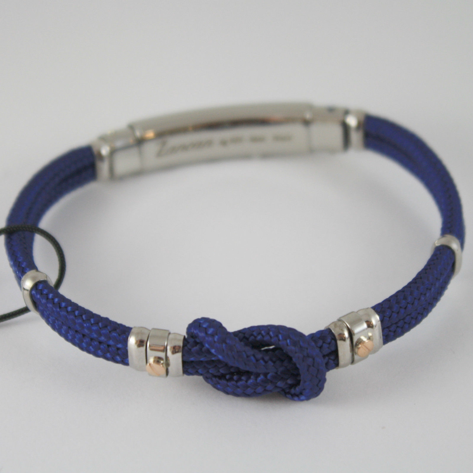 18K ROSE GOLD & SILVER BRACELET NAUTICAL BLUE SAILOR KNOT, ZANCAN MADE IN ITALY