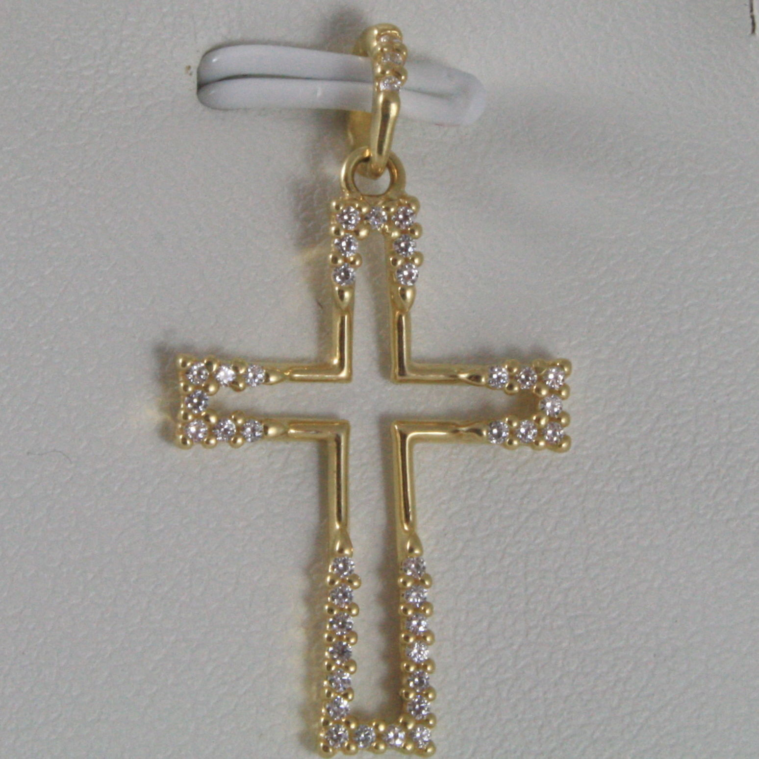 SOLID 18K YELLOW GOLD CROSS, STYLISED WITH ZIRCONIA 1.18, MADE IN ITALY