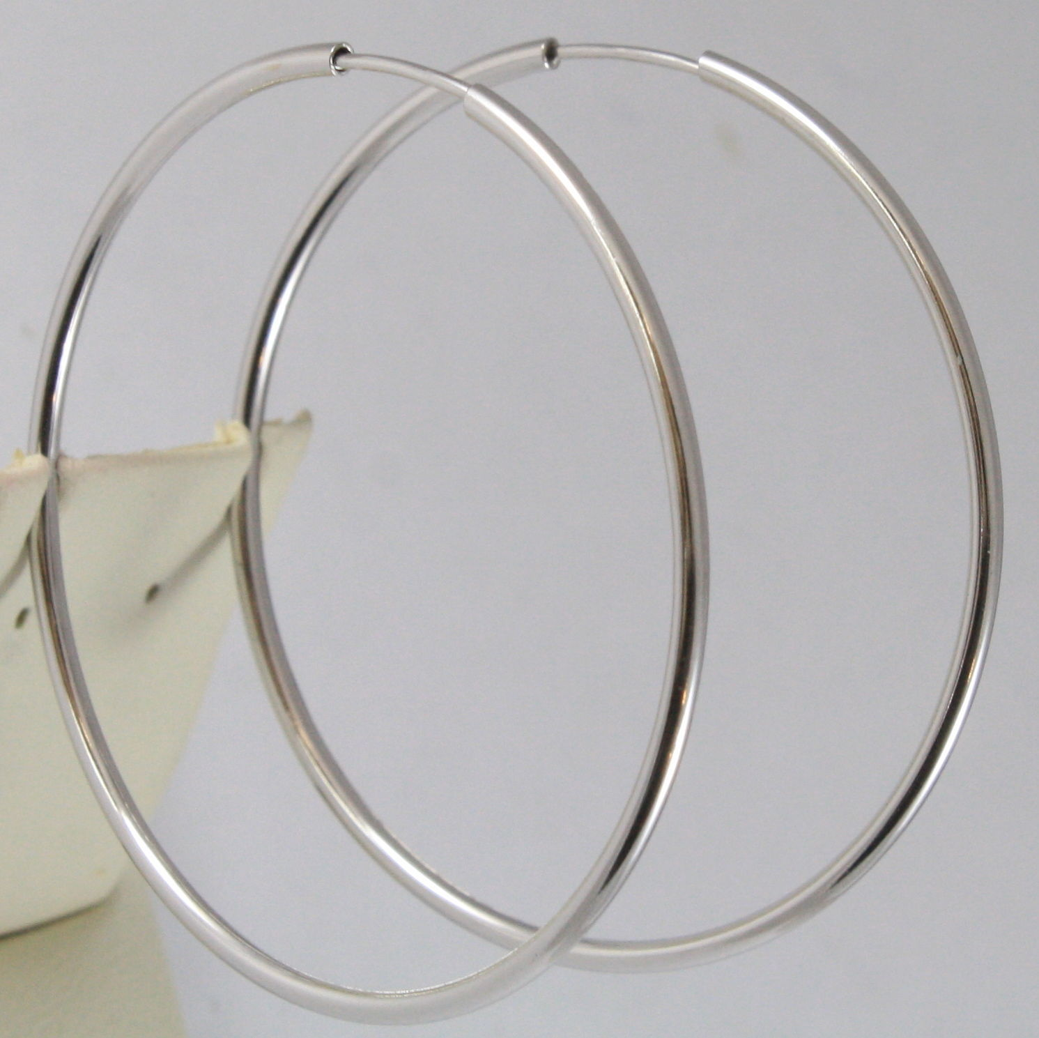 SOLID 18K WHITE GOLD CIRCLE EARRINGS HOOP, TUBE, DIAMETER 1.89 In MADE IN ITALY