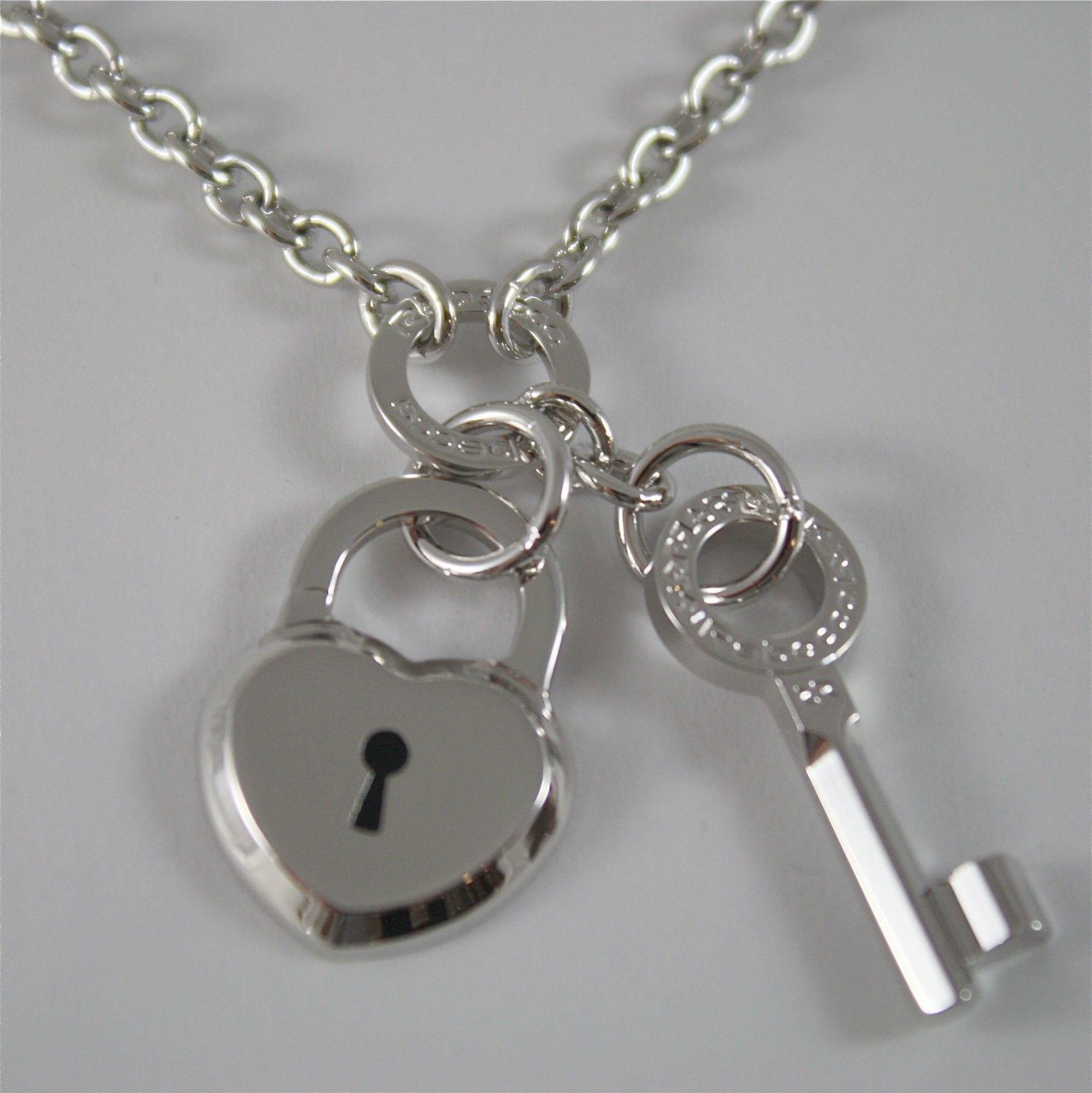 WHITE GOLD PLATED BRONZE REBECCA NECKLACE LOVE LOCK BLLKBB71 MADE IN ITALY 22.05