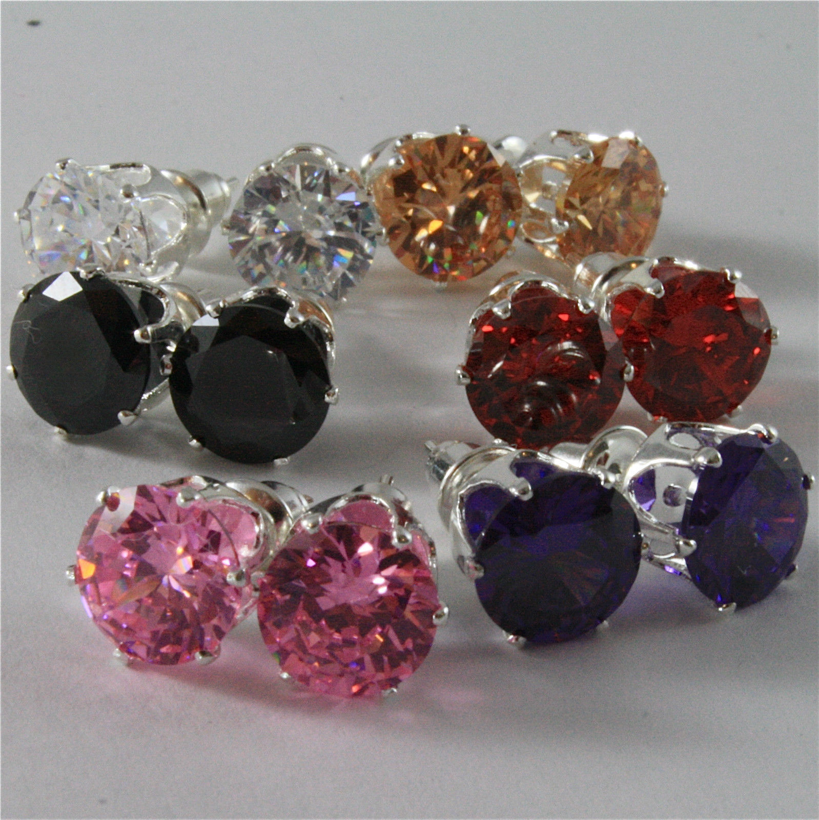 SOLID METAL EARRINGS WITH CUBIC ZIRCONIA FROM 0.26 TO 4.60 CARATS NICKEL FREE