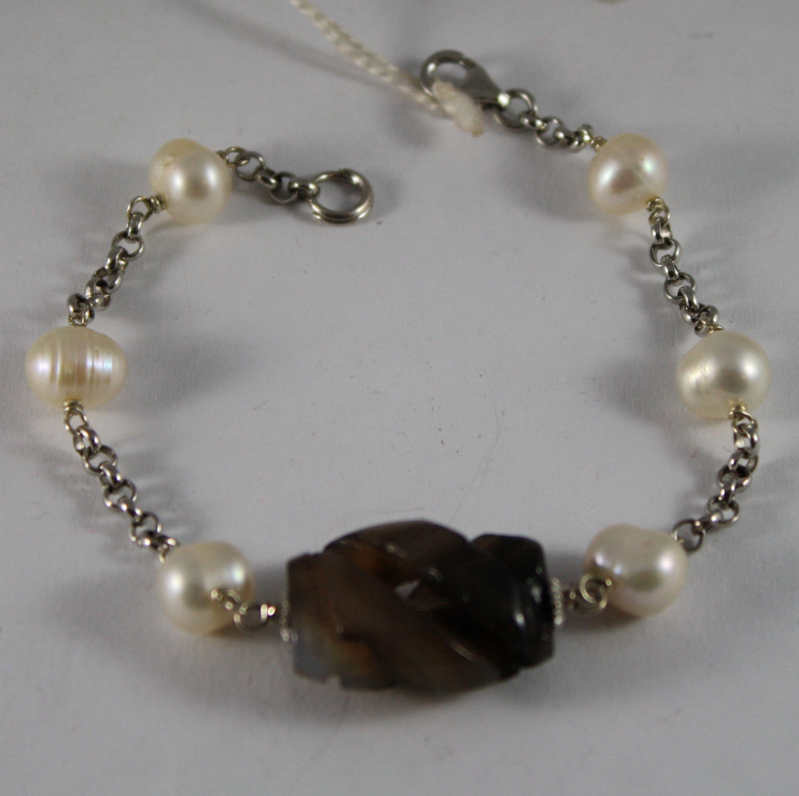 .925 RHODIUM SILVER BRACELET WITH BROWN QUARTZ AND WHITE PEARLS
