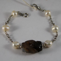 .925 RHODIUM SILVER BRACELET WITH BROWN QUARTZ AND WHITE PEARLS image 1