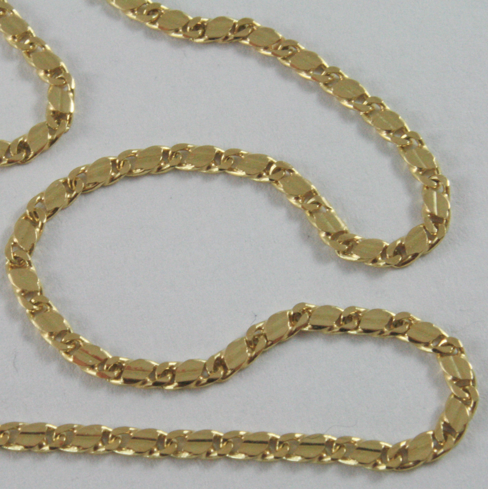 18K YELLOW GOLD CHAIN, ONDULATE FLAT MESH, NECKLACE MADE IN ITALY, 18KT SHINY