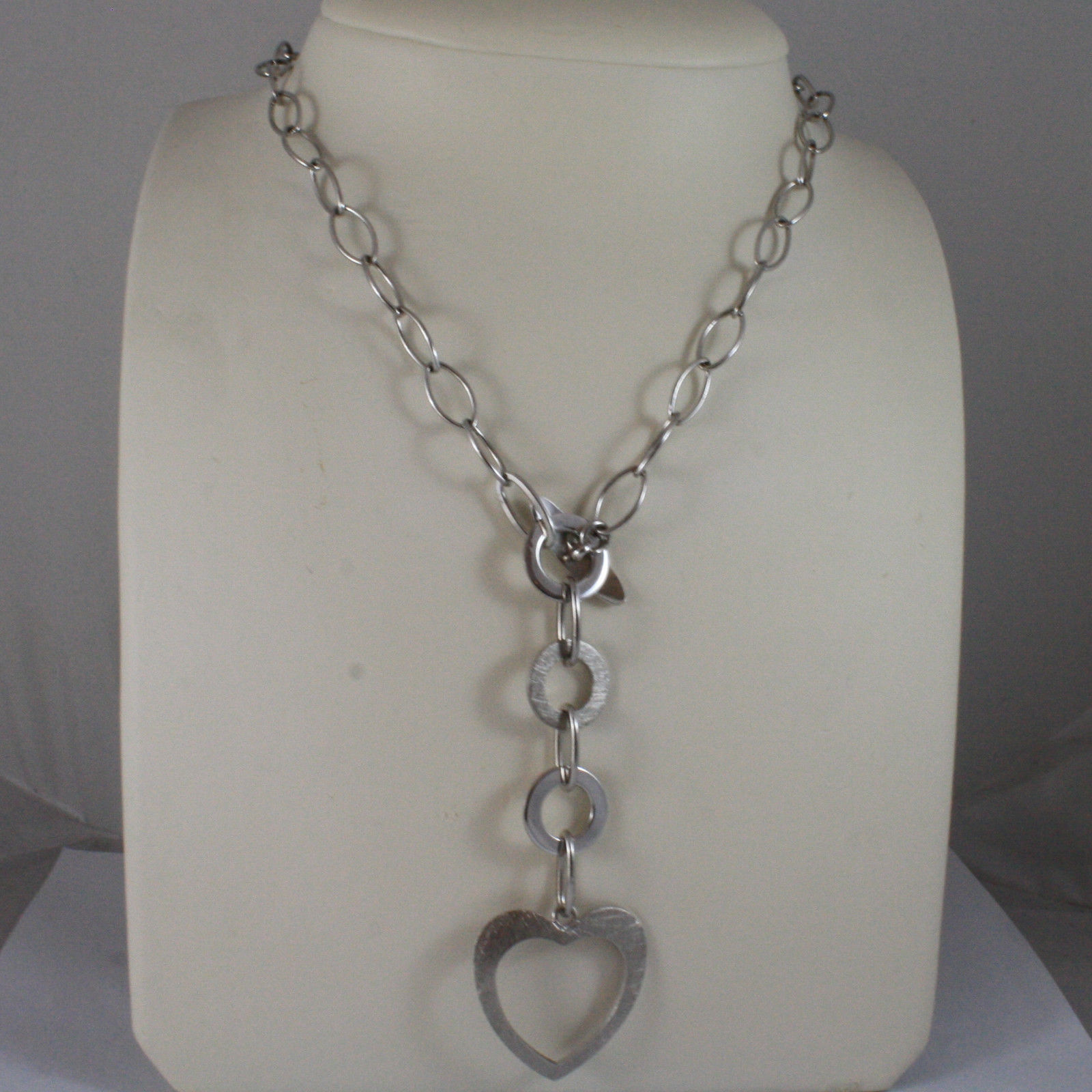 .925 SILVER RHODIUM NECKLACE WITH OVAL MESH, CIRCLES AND WORKED HEART PENDANT