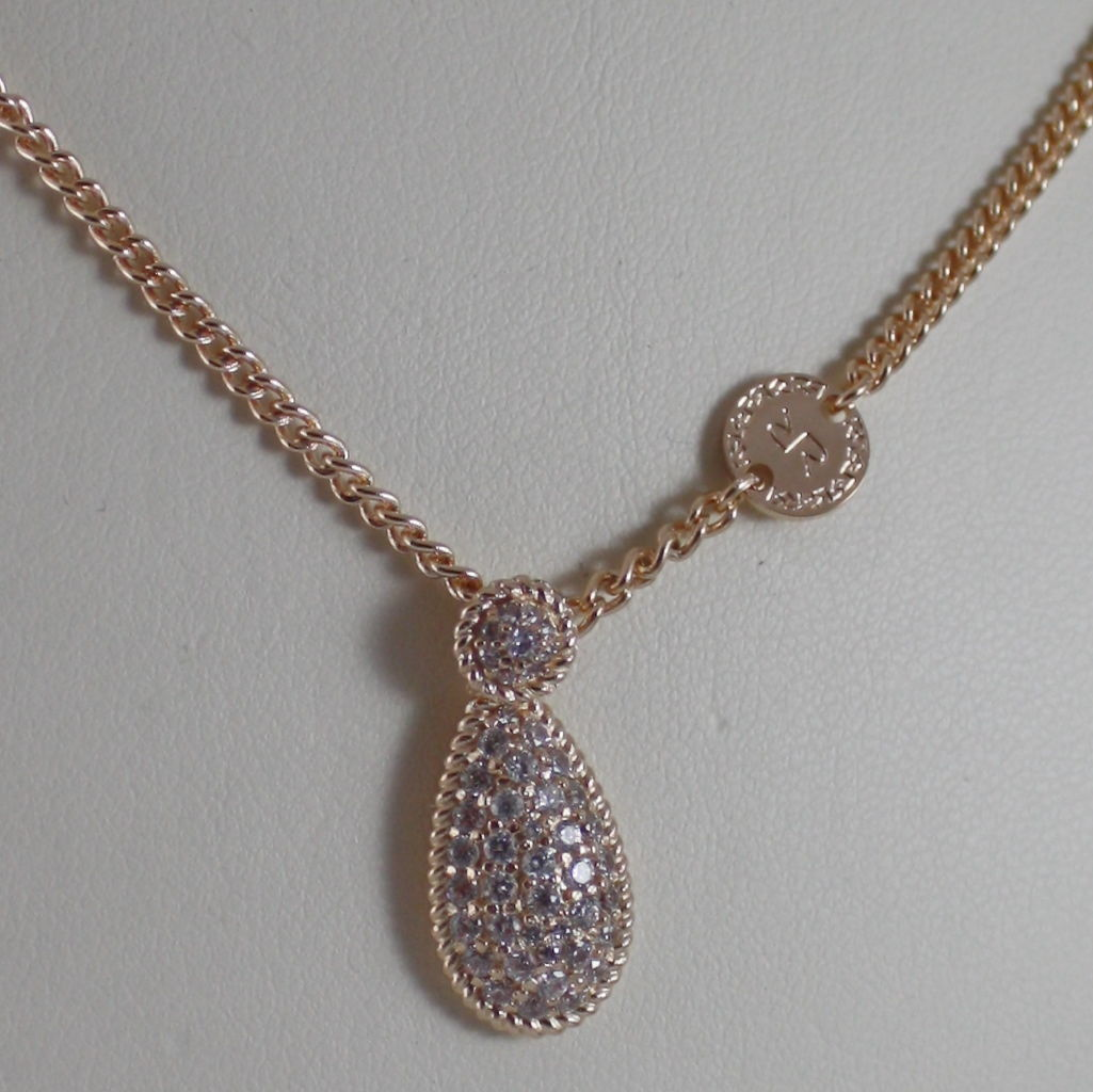 YELLOW BRONZE NECKLACE, DROP B14KOB07 CUBIC ZIRCONIA BY REBECCA MADE IN ITALY