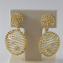 18K SOLID YELLOW GOLD PENDANTS EARRINGS WITH DISCS WORCHED AND CUBIC ZIRCONIA