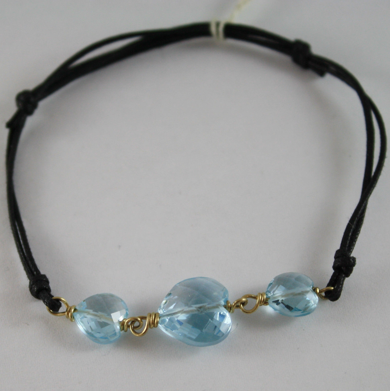 SOLID 18K YELLOW GOLD BRACELET WITH HEART FACETED BLUE TOPAZ, MADE IN ITALY
