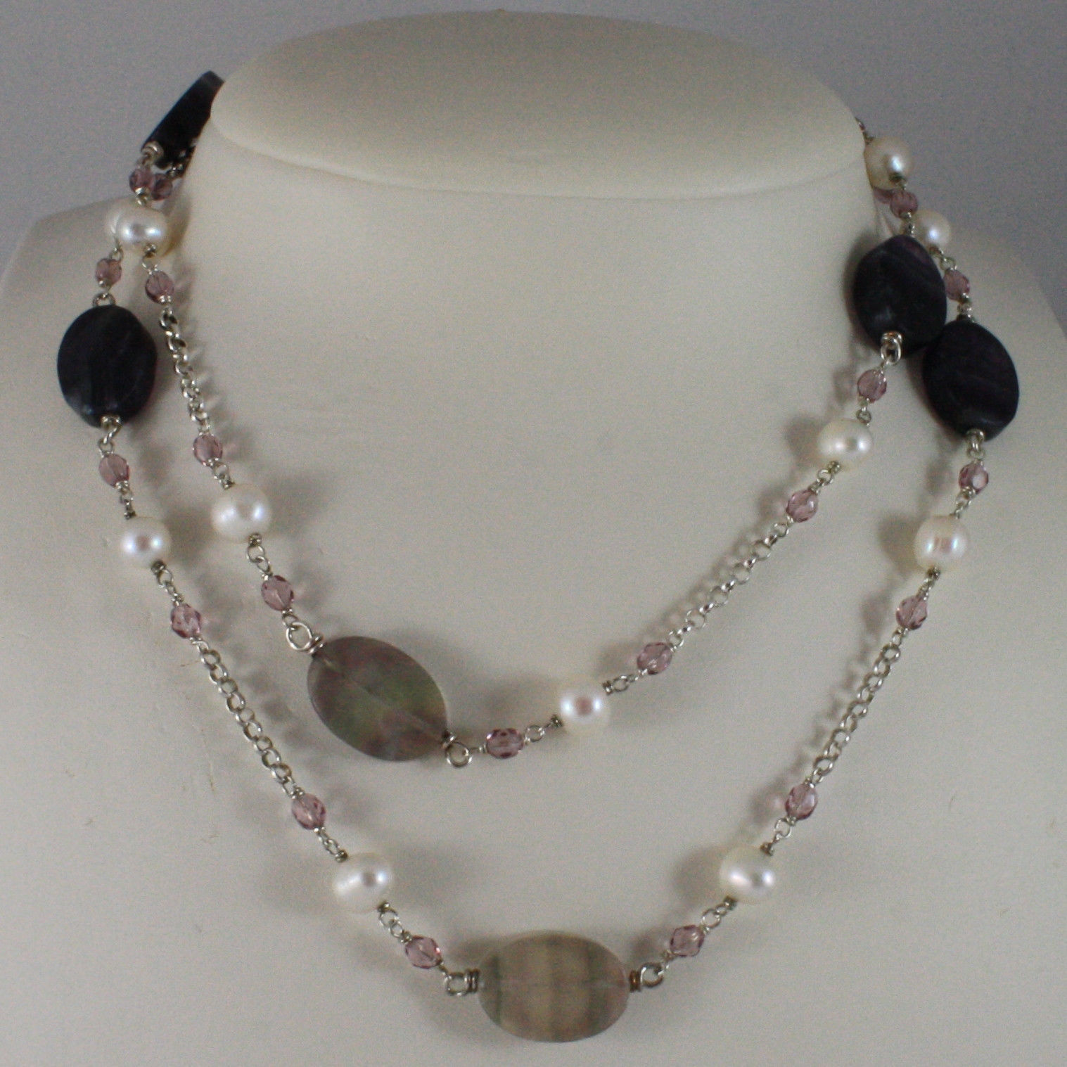 .925 SILVER RHODIUM NECKLACE WITH WHITE PEARLS, PINK CRYSTALS AND FLUORITE
