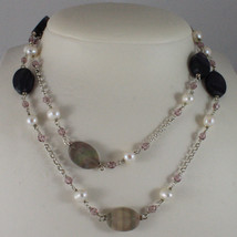 .925 SILVER RHODIUM NECKLACE WITH WHITE PEARLS, PINK CRYSTALS AND FLUORITE image 1