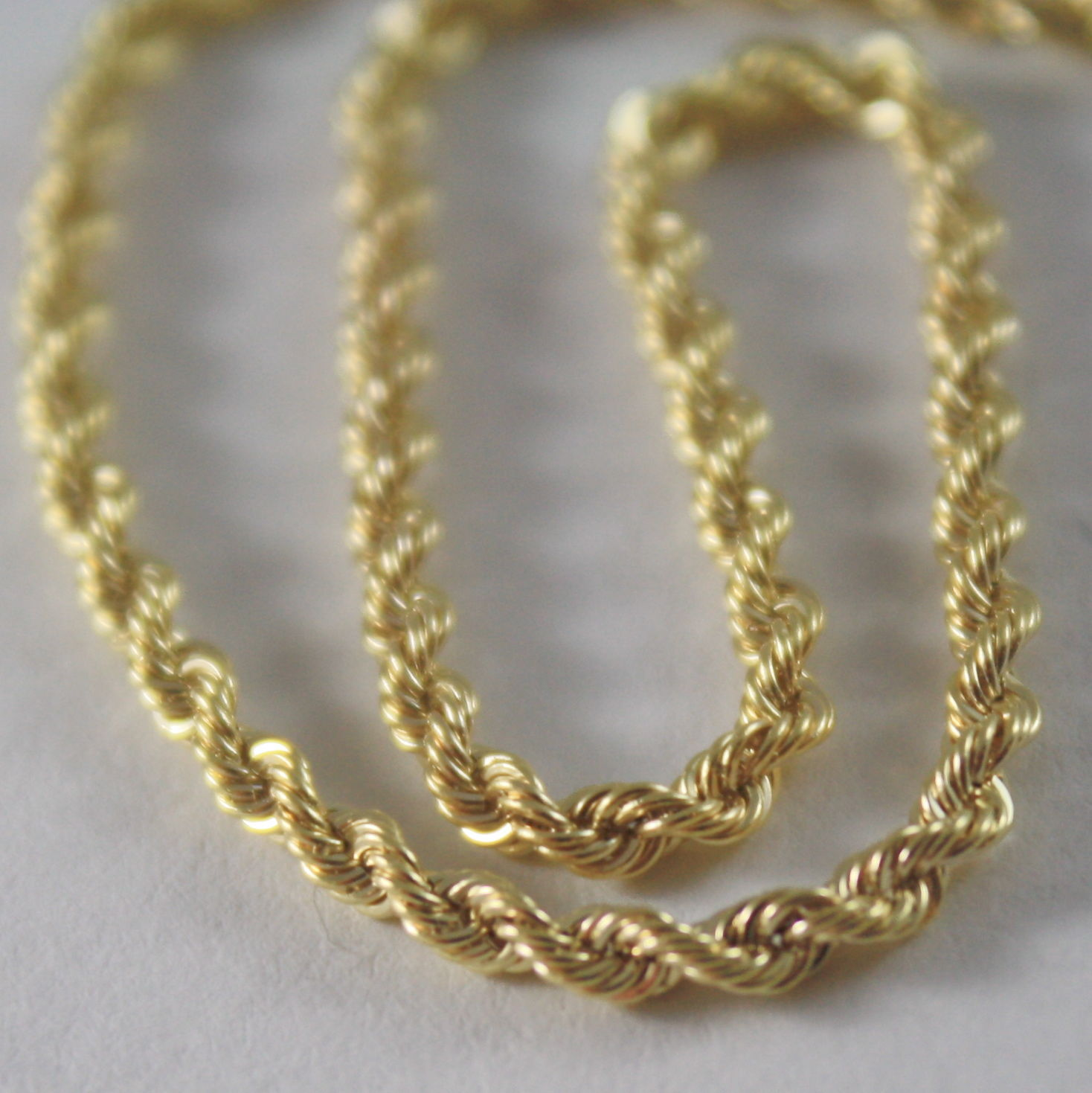 14K YELLOW GOLD ROPE CHAIN, 17.71 IN. BRAID ROPE CORD, NECKLACE, MADE IN ITALY