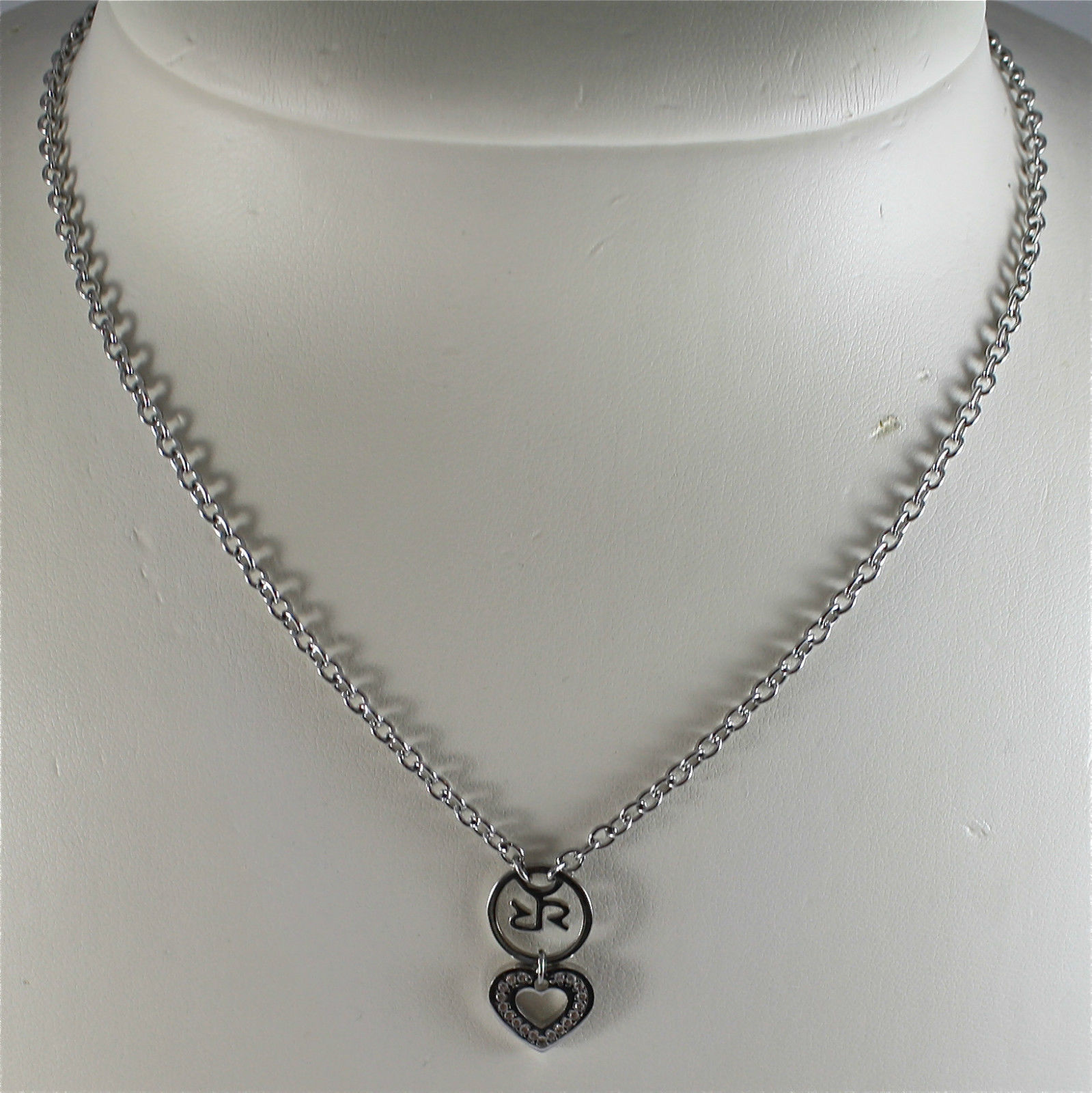 RHODIUM-PL​ATED BRONZE NECKLACE WITH PENDANT BY REBECCA MADE IN ITALY