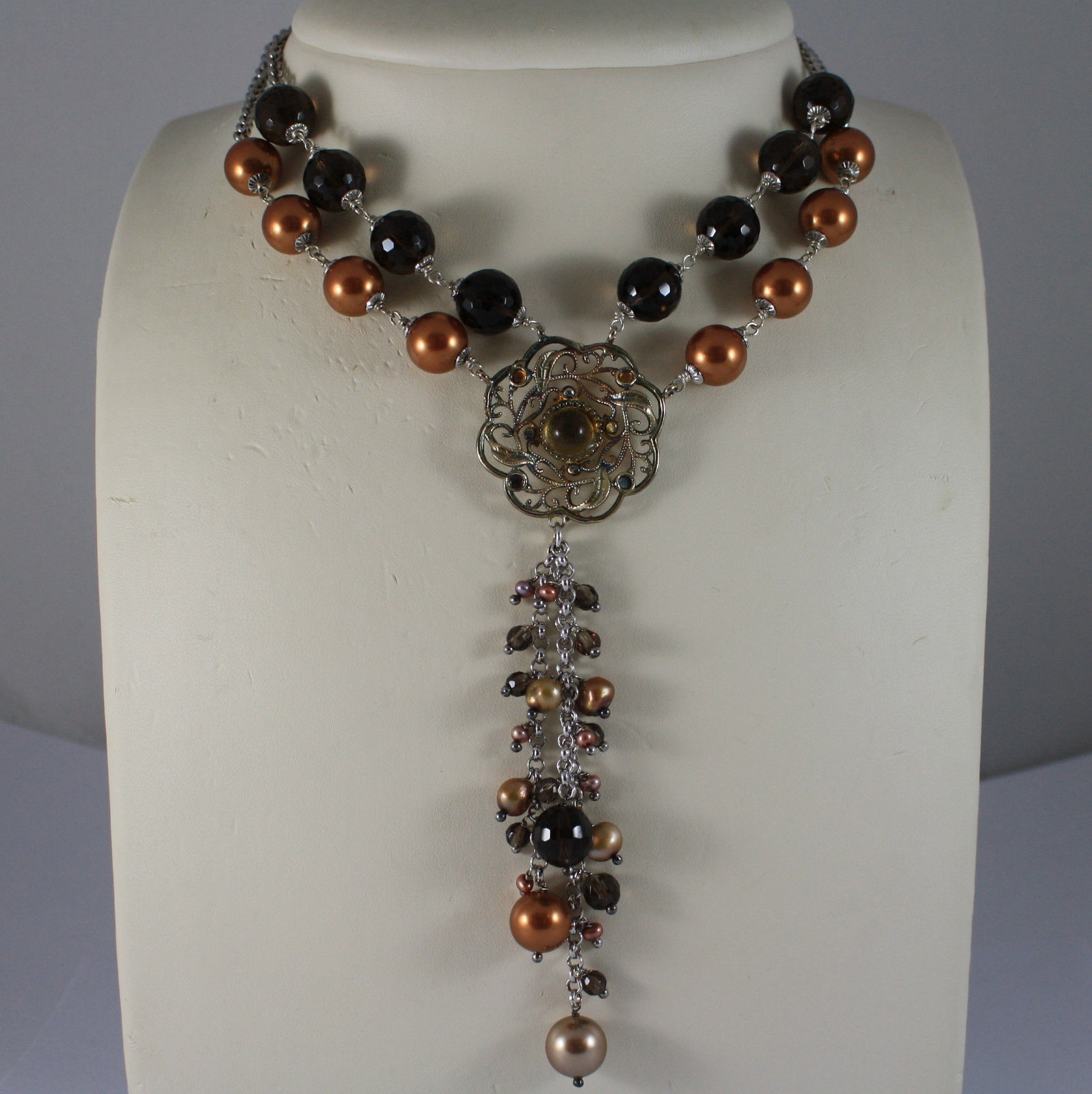 .925 SILVER RHODIUM MULTI STRAND NECKLACE WITH SMOKY QUARTZ AND GOLDEN PEARLS
