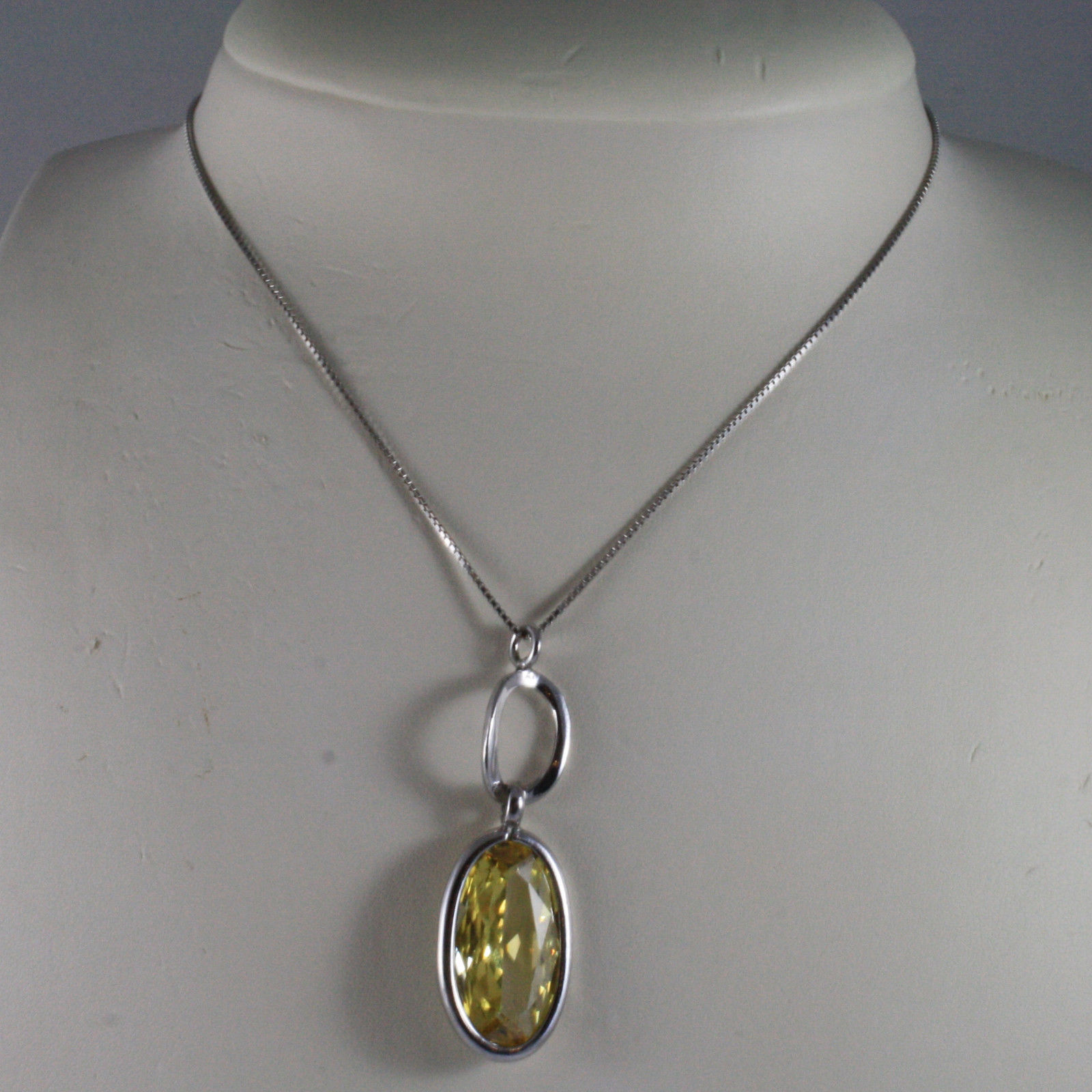 .925 SILVER RHODIUM NECKLACE WITH VENETIAN MESH AND YELLOW CRISTAL PENDANT