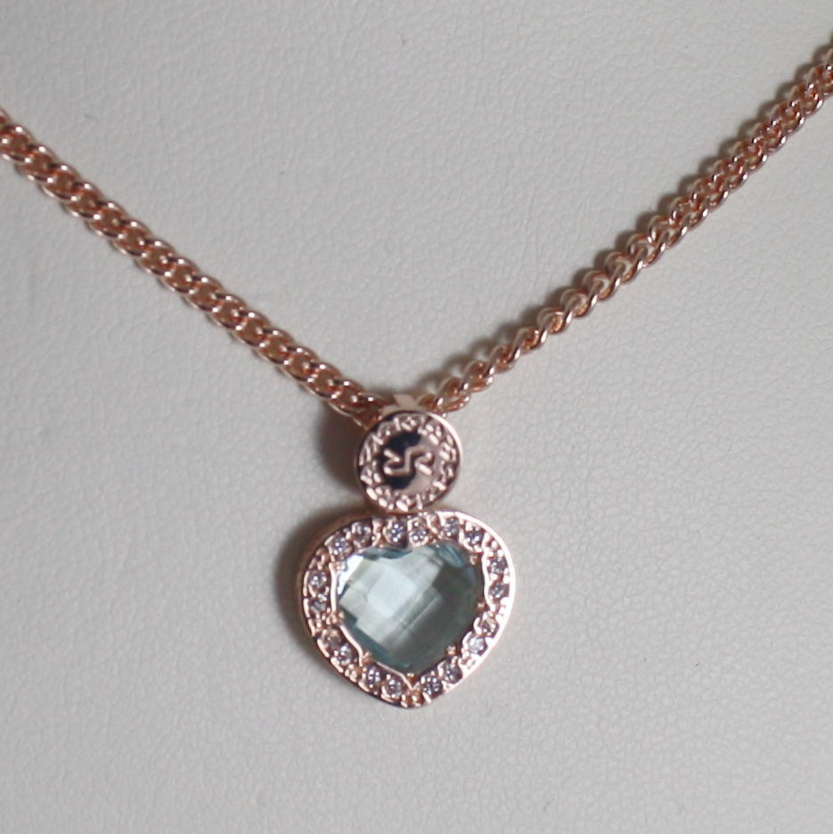 ROSE BRONZE NECKLACE HEART B14KRB24 BLUE QUARTZ, ZIRCONIA REBECCA MADE IN ITALY