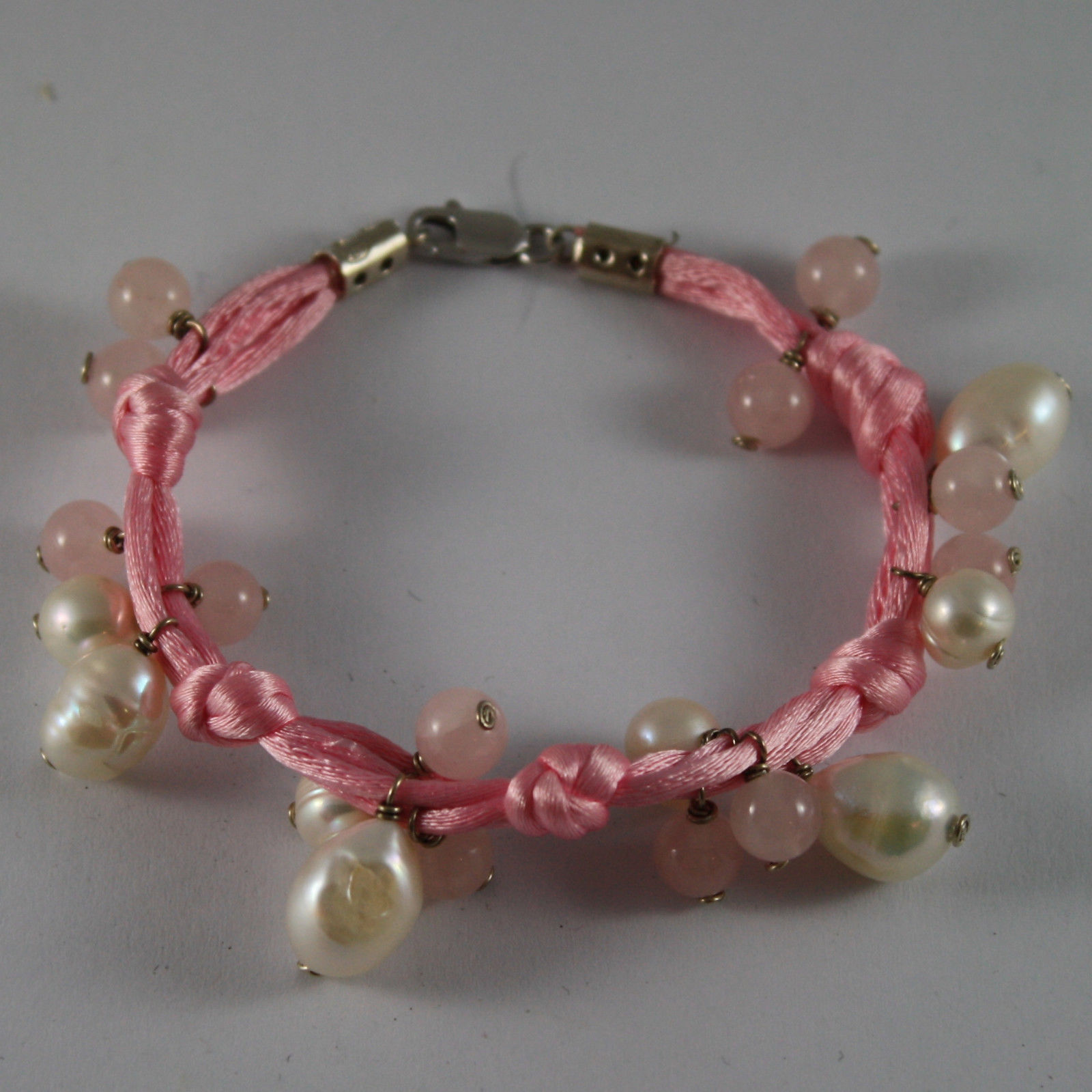 .925 SILVER RHODIUM BRACELET WITH PINK CORD, WHITE PEARLS AND PINK QUARTZ