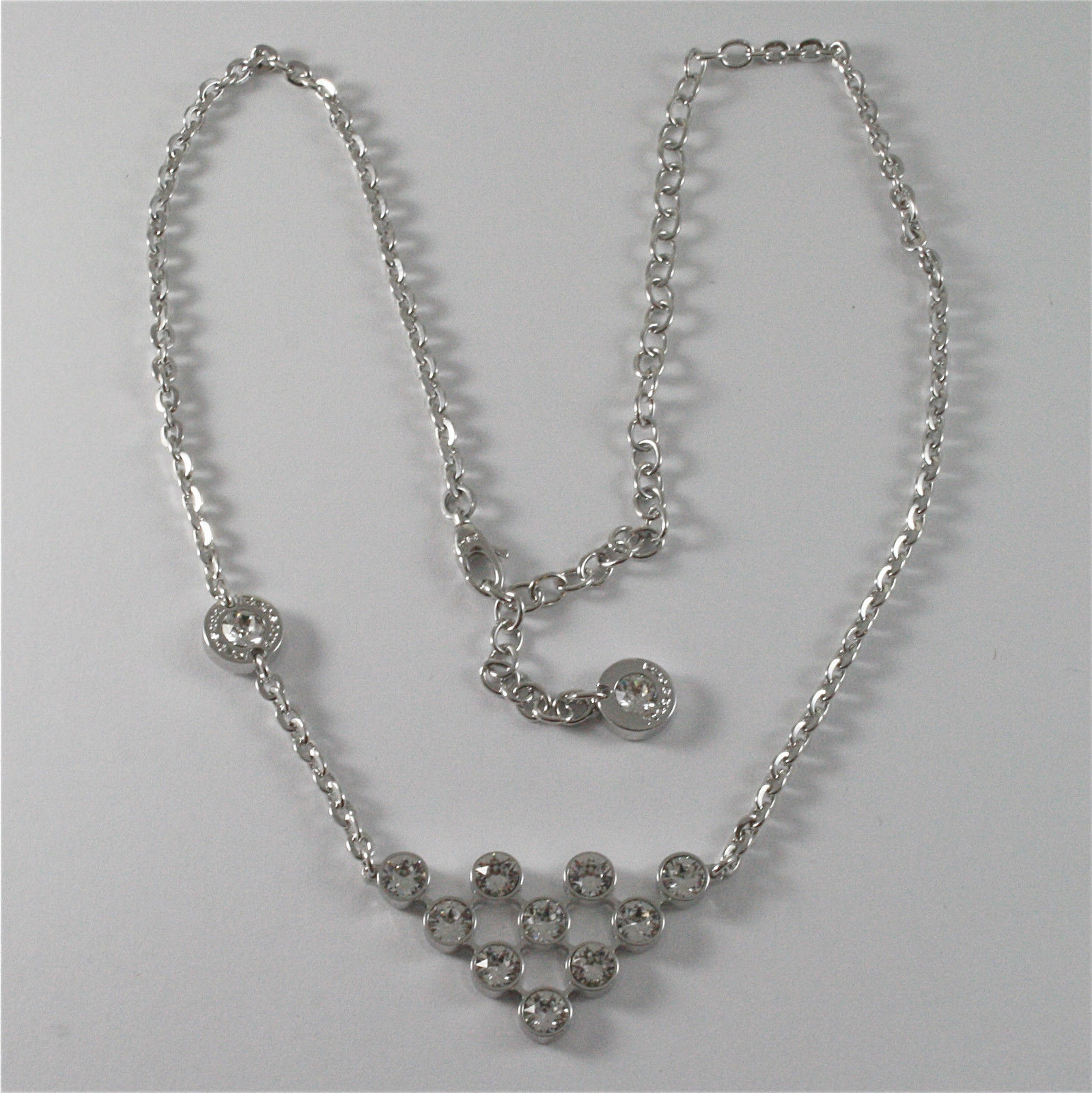 WHITE GOLD PLATED BRONZE REBECCA CLUSTER NECKLACE BPBKBB05 MADE IN ITALY 18.90