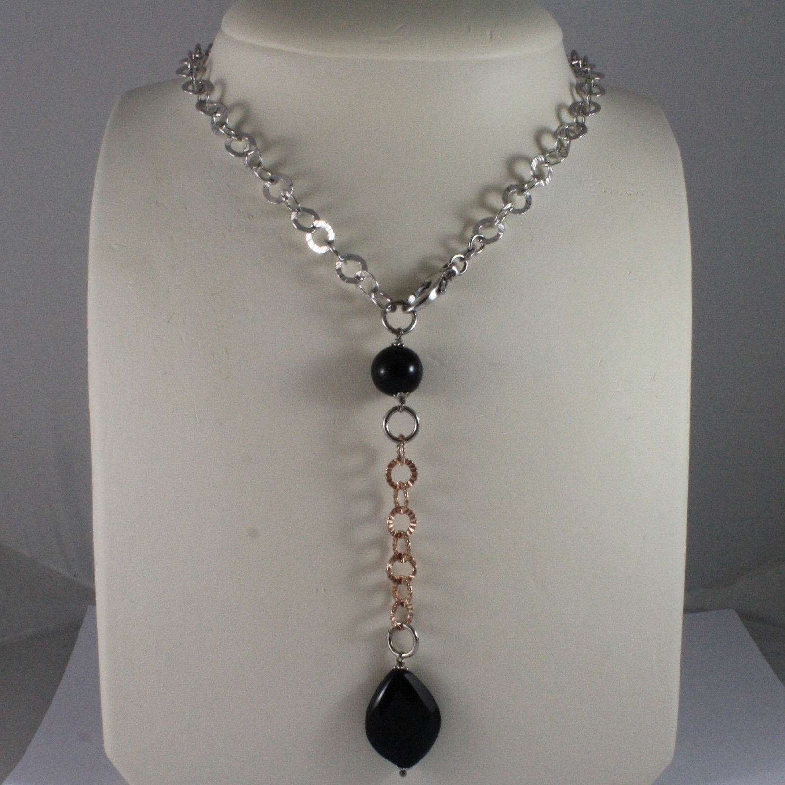 .925 SILVER RHODIUM AND ROSE GOLD PLATED NECKLACE WITH BLACK ONYX & ROUND MESH