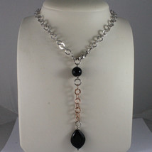 .925 SILVER RHODIUM AND ROSE GOLD PLATED NECKLACE WITH BLACK ONYX & ROUND MESH image 1