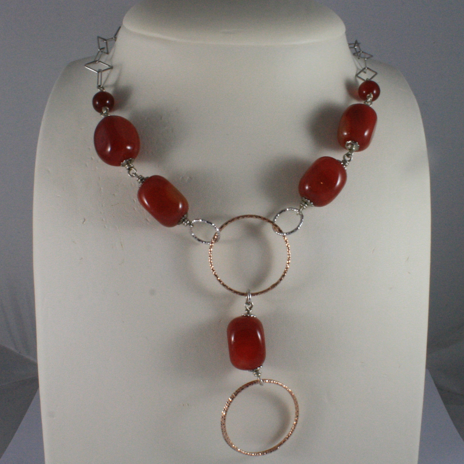 .925 SILVER RHODIUM NECKLACE WITH RED CARNELIAN AND ROSE GOLD PLATED WHEELS