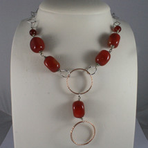 .925 SILVER RHODIUM NECKLACE WITH RED CARNELIAN AND ROSE GOLD PLATED WHEELS image 1