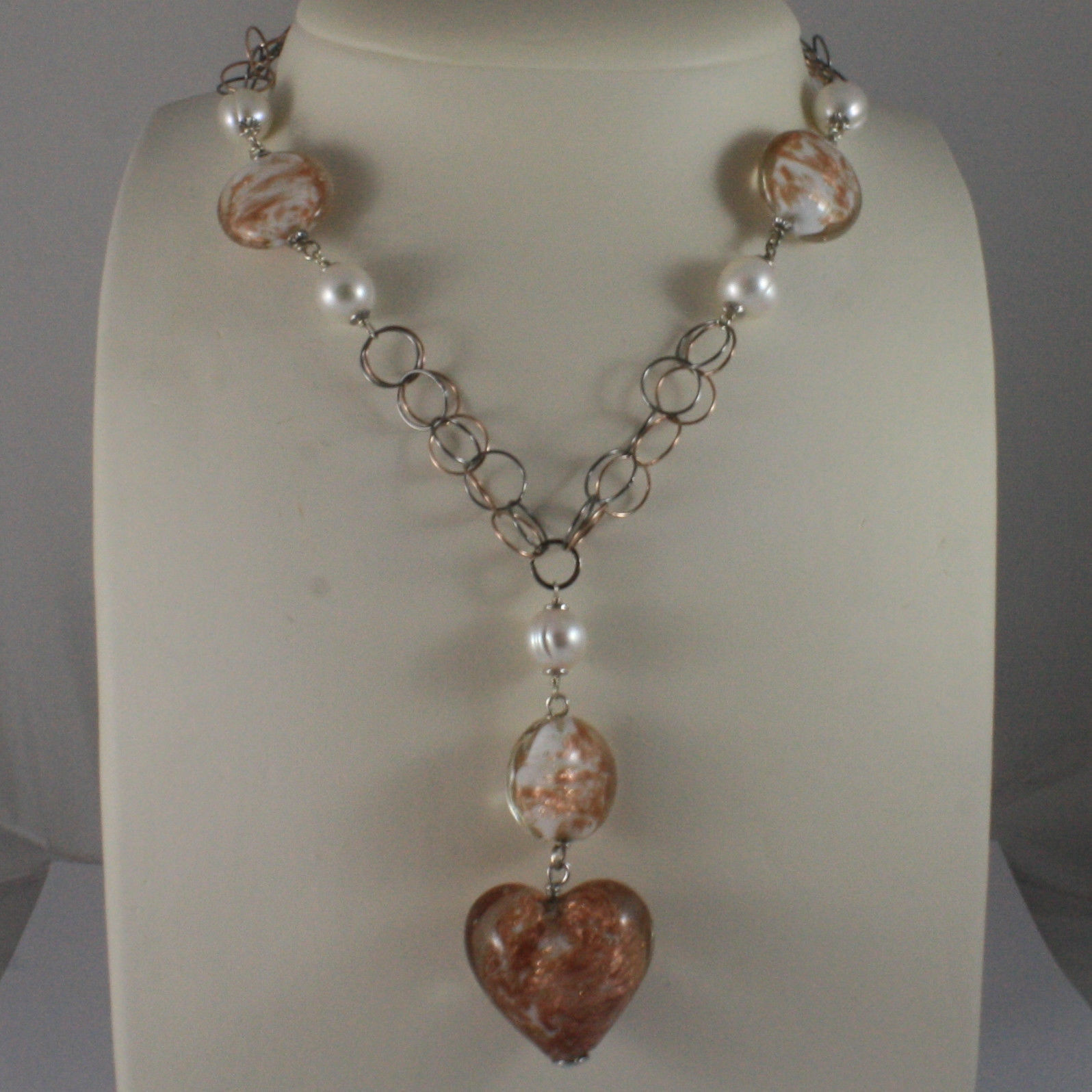 .925 SILVER RHODIUM BURNISHED AND ROSE GOLD PLATED NECKLACE WITH  MURRINE
