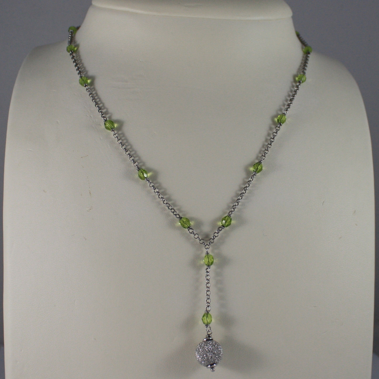 .925 SILVER RHODIUM NECKLACE WITH GREEN CRISTALS AND SILVER SPHERE