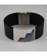 .925 RHODIUM SILVER BRACELET WITH RUBBER AND PLATE WITH BLUE CRISTALS - $241.30