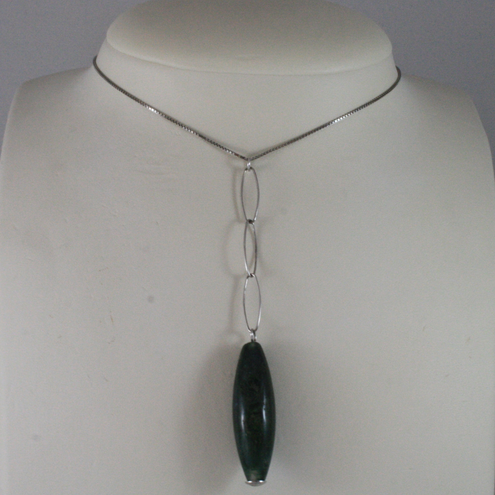 .925 SILVER RHODIUM NECKLACE WITH GREEN JASPER AND VENETIAN AND OVAL MESH
