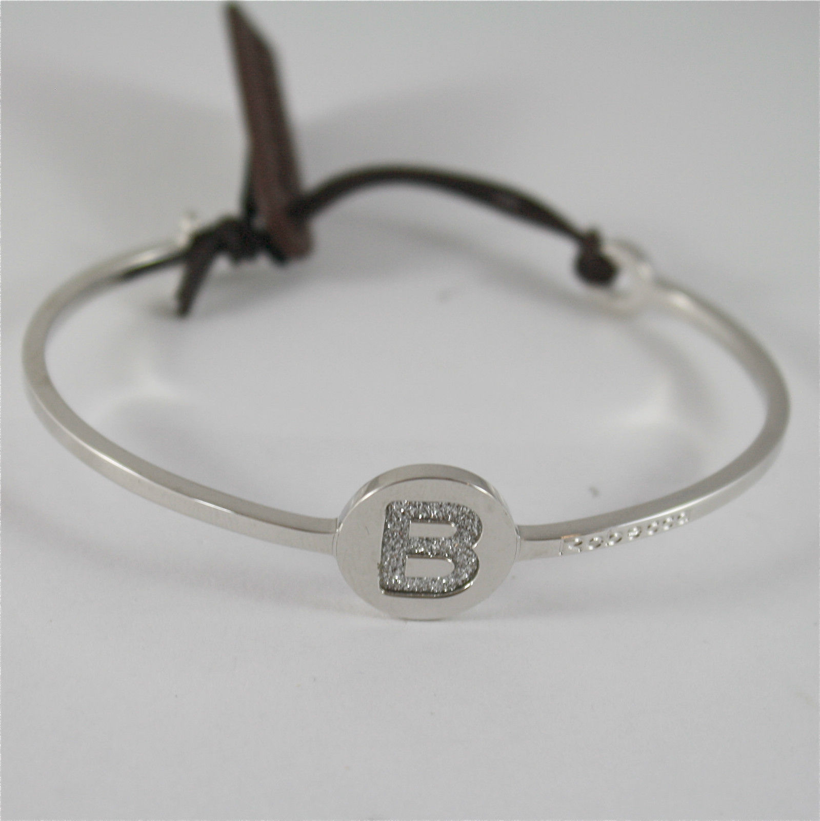 WHITE GOLD PLATED BANGLE BRONZE REBECCA BRACELET WITH B BWGBBS69 MADE IN ITALY