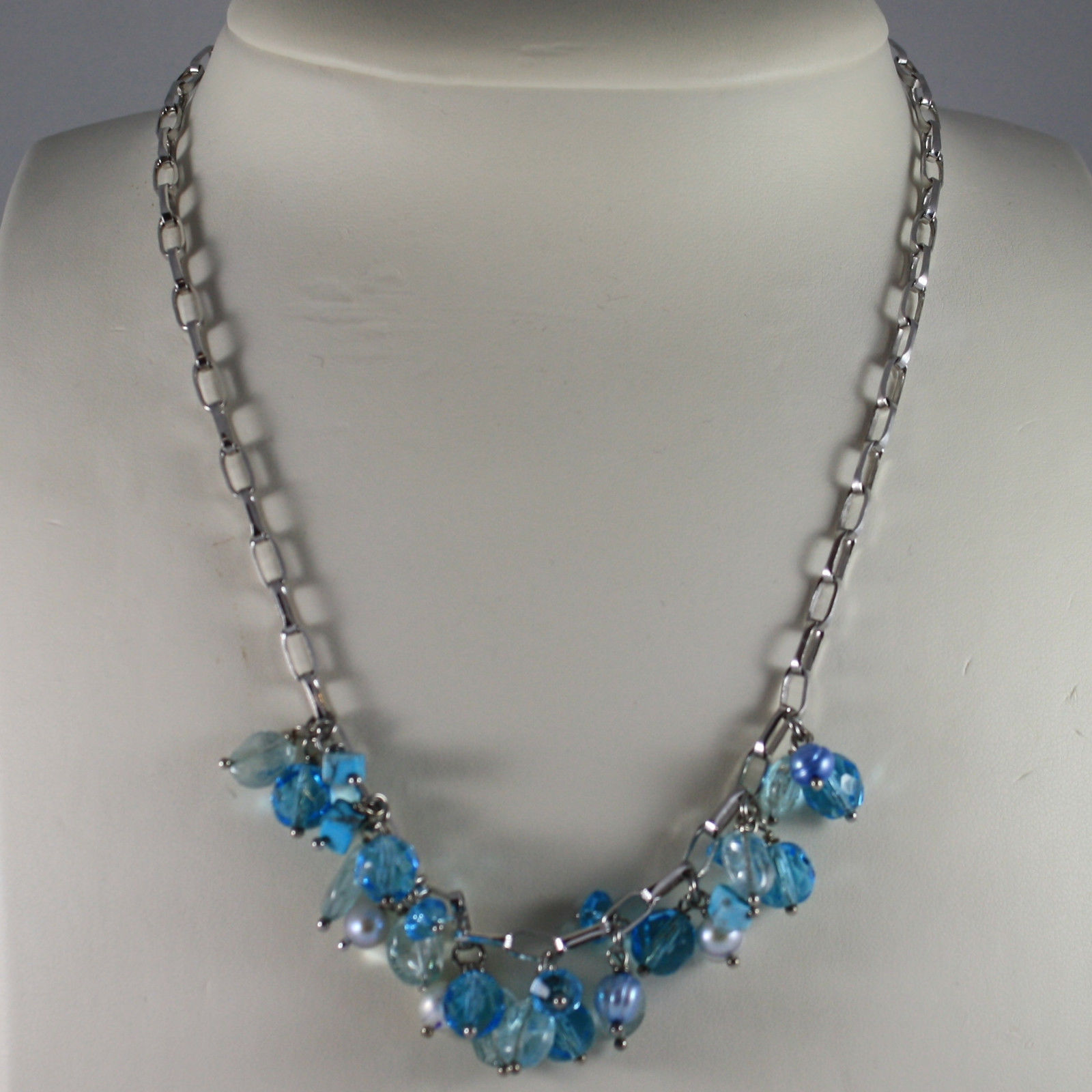 .925 SILVER RHODIUM NECKLACE WITH PEARLS, QUARTZ, TURQUOISE AND CRISTALS