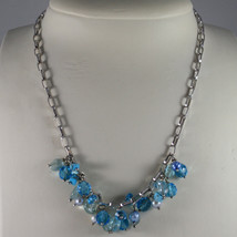 .925 SILVER RHODIUM NECKLACE WITH PEARLS, QUARTZ, TURQUOISE AND CRISTALS image 1