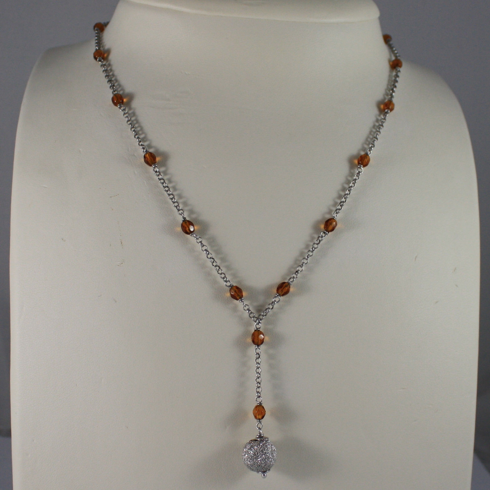 .925 SILVER RHODIUM NECKLACE WITH ORANGE CRYSTALS AND SILVER SPHERE