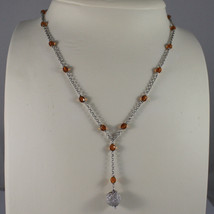 .925 SILVER RHODIUM NECKLACE WITH ORANGE CRYSTALS AND SILVER SPHERE image 1