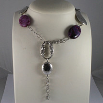 .925 SILVER RHODIUM MULTI STRAND NECKLACE WITH PURPLE AGATE AND SILVER PENDANT