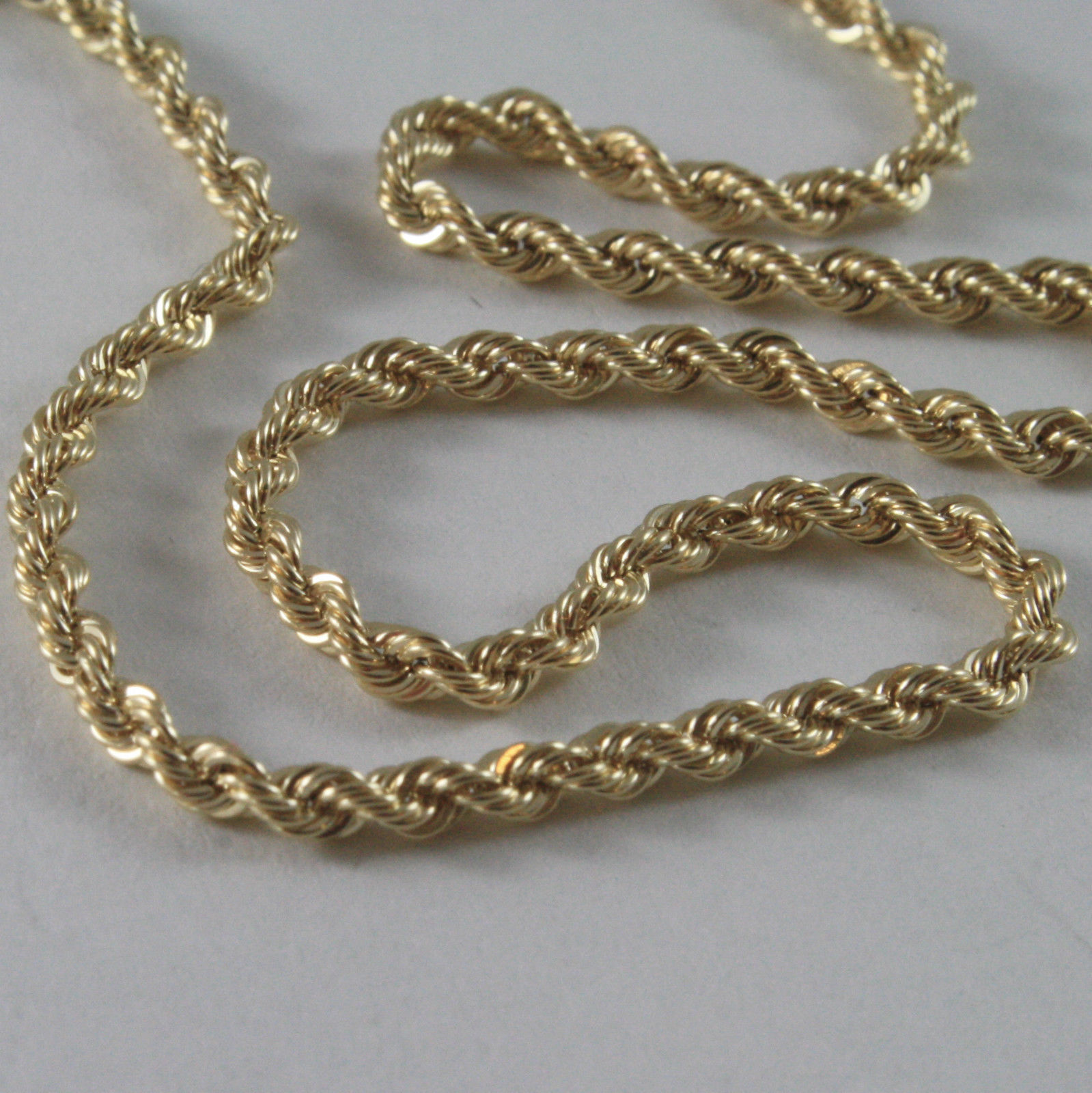 9K YELLOW GOLD ROPE CHAIN, 15.75, BRAID ROPE CORD, NECKLACE, MADE IN ITALY, 9KT