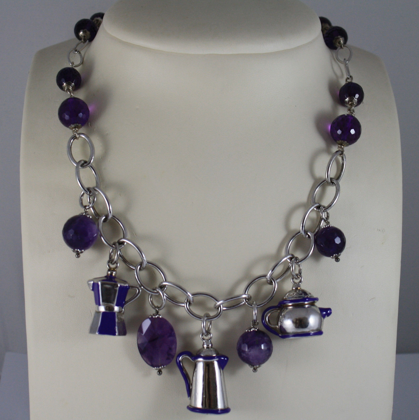 .925 RHODIUM SILVER NECKLACE WITH PURPLE CRISTALS, AMETHYST AND ENAMELLED CHARMS