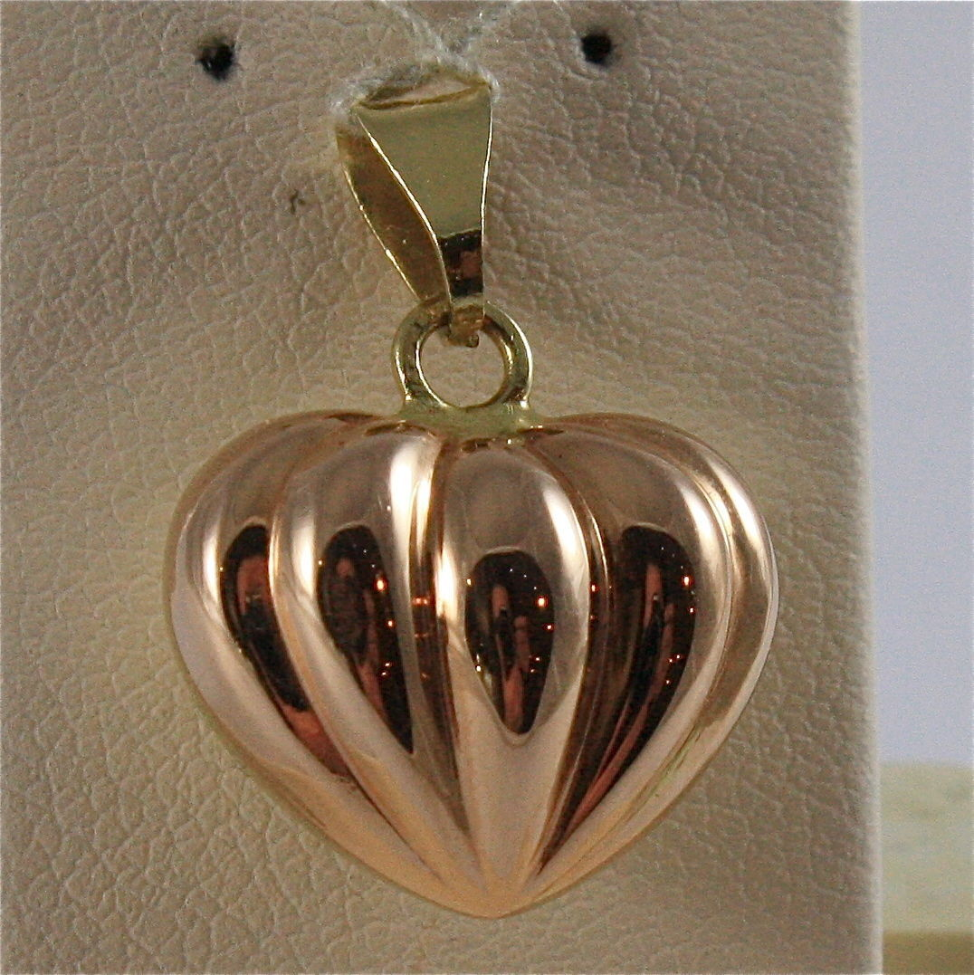 SOLID 18K YELLOW GOLD PENDANT, 0,87X0,59 In, SEGMENT HEART SHAPE, ELECTROFORMED
