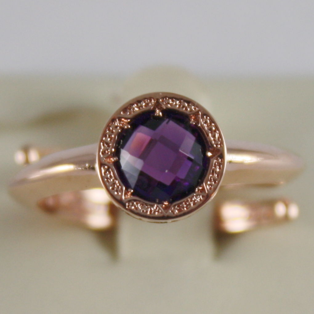 ROSE BRONZE RING WITH ROUND PURPLE QUARTZ B14ARA21 BY REBECCA, MADE IN ITALY