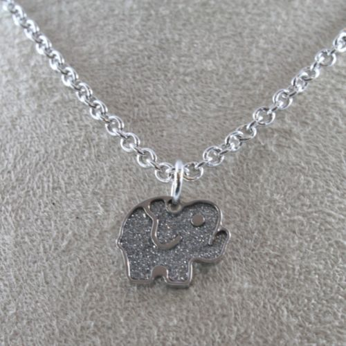 RHODIUM-PL​ATED BRONZE NECKLACE WITH ELEPHANT PENDANT BY REBECCA MADE IN ITALY