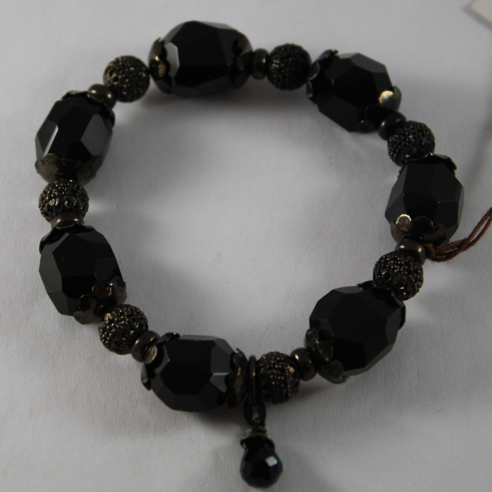 .925 RHODIUM SILVER BURNISH ELASTIC BRACELET WITH BLACK ONYX AND SPHERES