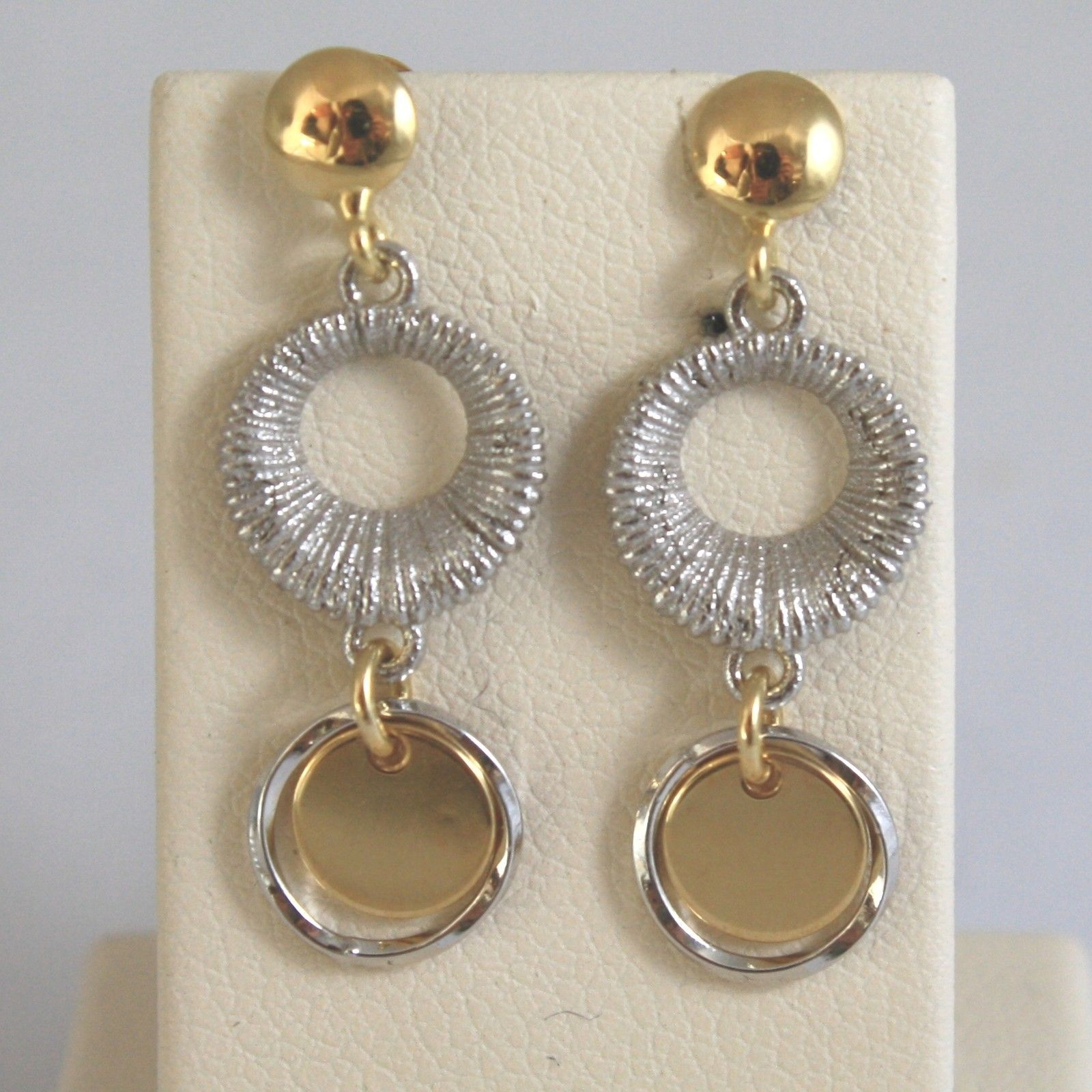 18K SOLID YELLOW AND WHITE GOLD EARRINGS WITH WHEELS  MADE IN ITALY 18K