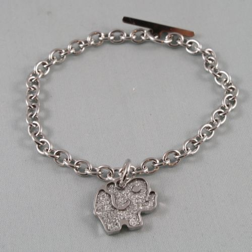 RHODIUM-PL​ATED BRONZE BRACELET WITH ELEPHANT PENDANT BY REBECCA MADE IN ITALY