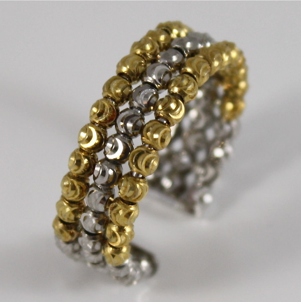 925 SILVER RING BY OFFICINA BERNARDI FACETED BALLS MADE IN ITALY THREE WIRE