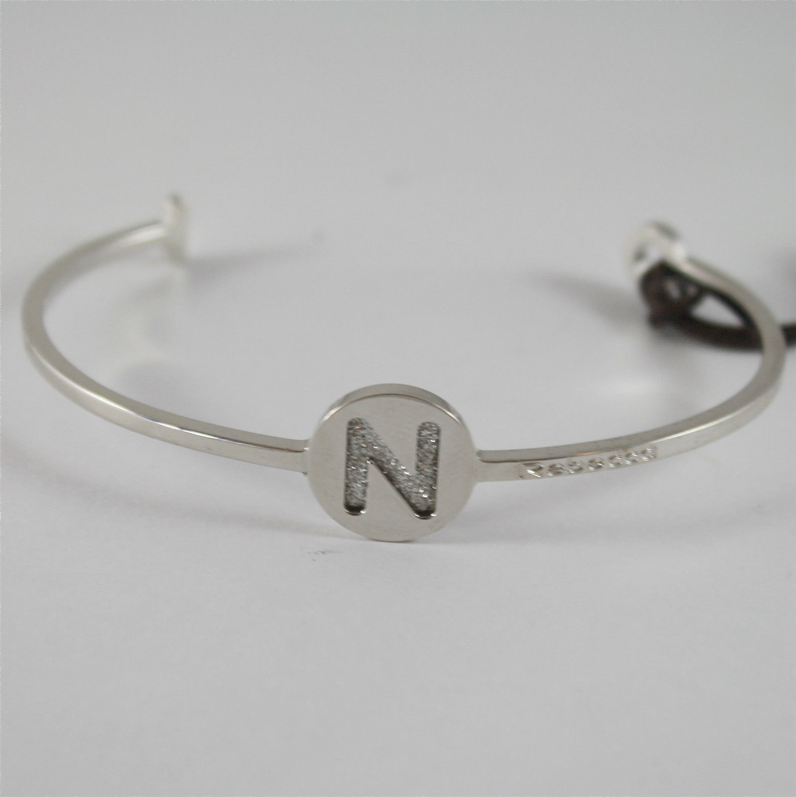 WHITE GOLD PLATED BANGLE BRONZE REBECCA BRACELET WITH N BWGBBN64 MADE IN ITALY